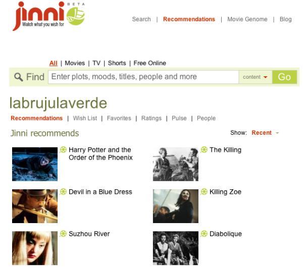 Jinni: recomendaciones de películas y series