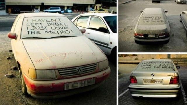 El Metro de Dubai saca partido a los coches abandonados