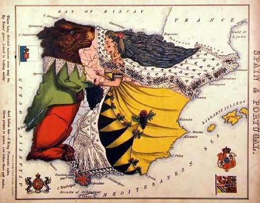 Un atlas decimonónico con personajes que forman países