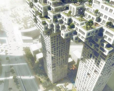 The Cloud: edificios unidos por un cúmulo de bloques pixelados