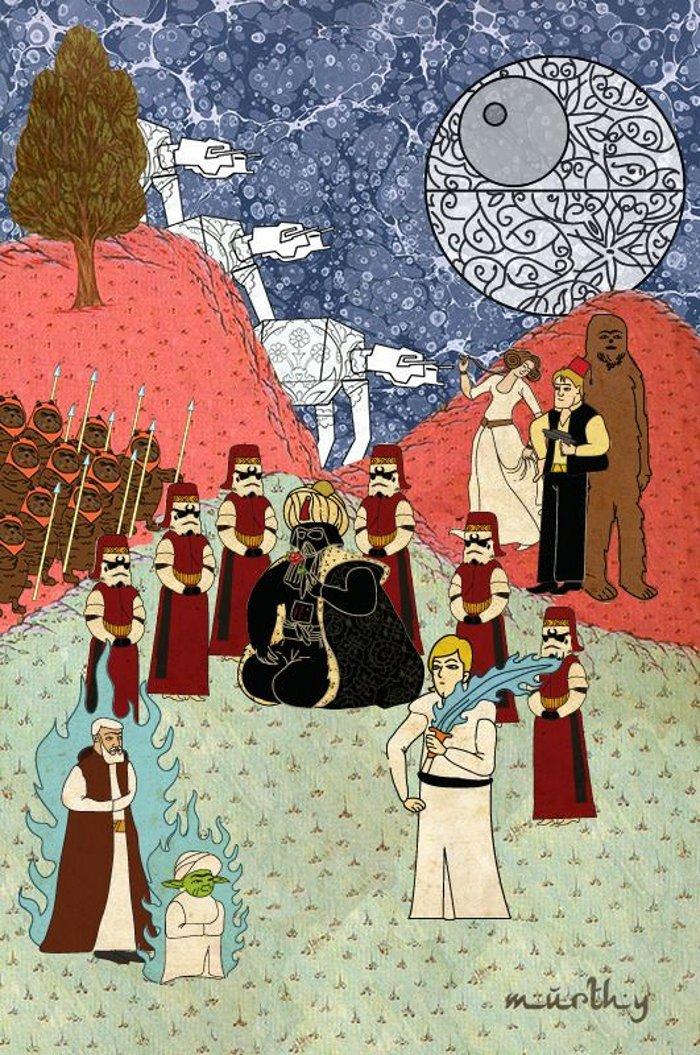 Murat Palta arte otomano tradicional para representar películas famosas Star Wars