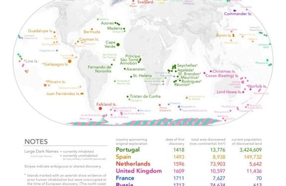 El sorprendente mapa de los descubrimientos europeos 1