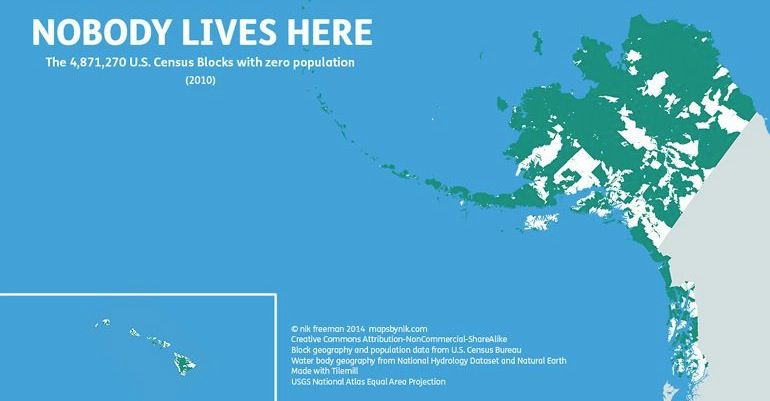 Mapas que muestran los sitios donde no vive nadie