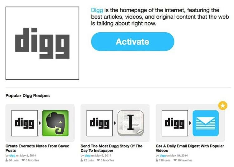 Digg Reader activa canal en IFTTT