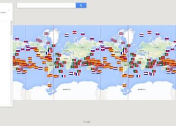 Mapa mundial de los descubrimientos (por países) 1