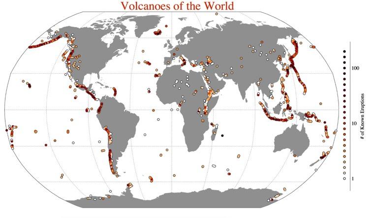 Un mapa con todos los volcanes del mundo