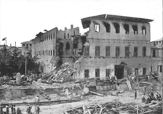 Estado en que quedó el Palacio de Zanzibar tras la guerra