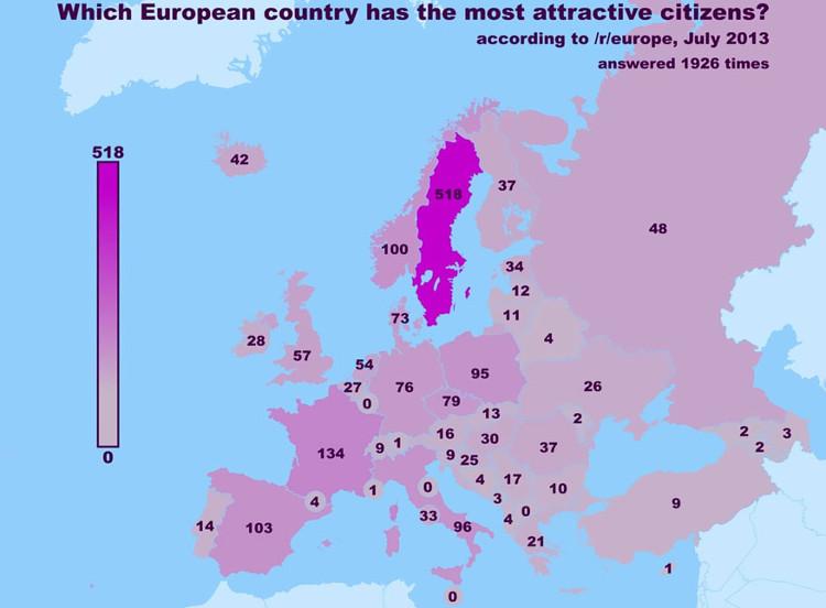Atractivo sexual mundial mapas