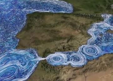 Las corrientes del Mediterráneo en una simulación de la NASA
