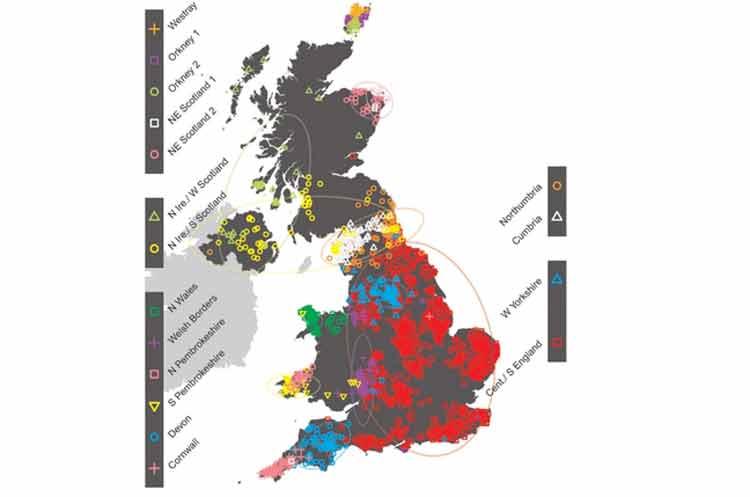 El primer mapa genético del Reino Unido