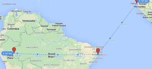 Distancia Cruzeiro do Sul-Recife-Dakar