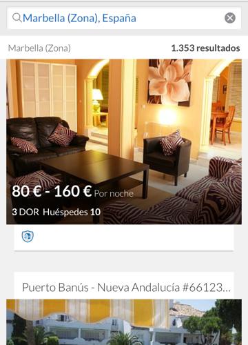 Aplicación móvil de HomeAway para reservar o encontrar apartamento turístico 2