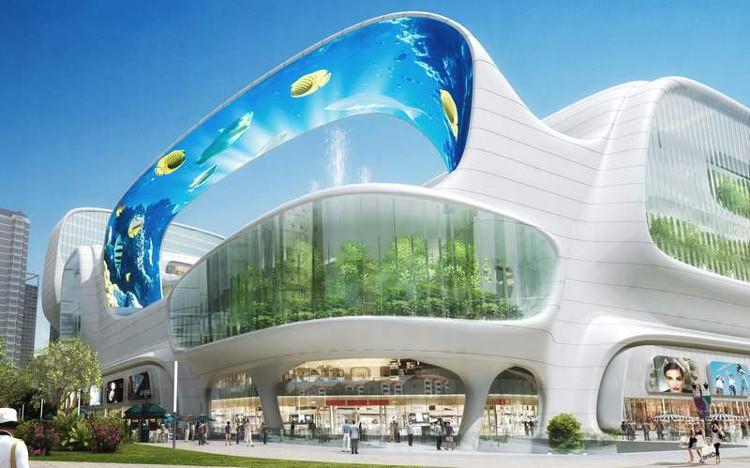 Un acuario vertical y canales para navegar en góndola en un centro comercial de China