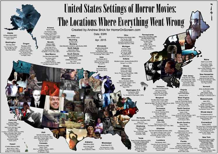 Las películas de terror americanas cartografiadas en un mapa