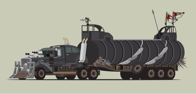 Estramboticos vehiculos Mad Max vistos ilustrador Scott Park 4