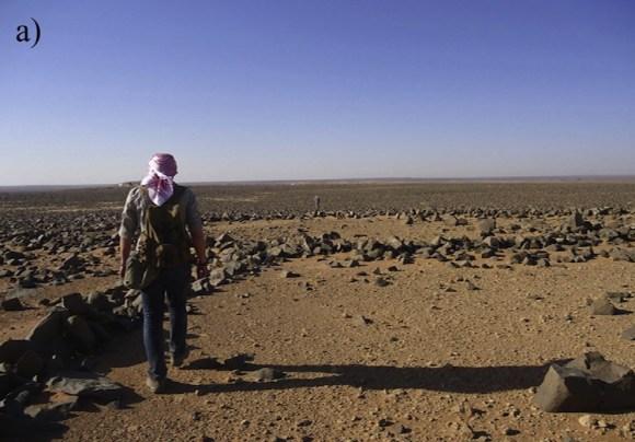 Estructuras tipo rueda de Wadi Wisad a ras de suelo