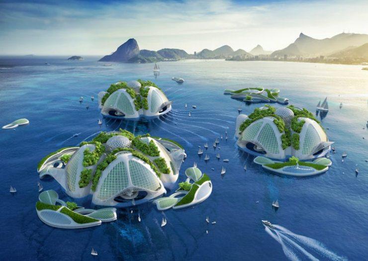 Ciudades flotantes basura sacada mar