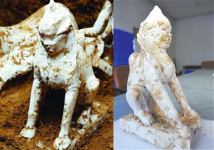 Encuentran una esfinge milenaria en una tumba china