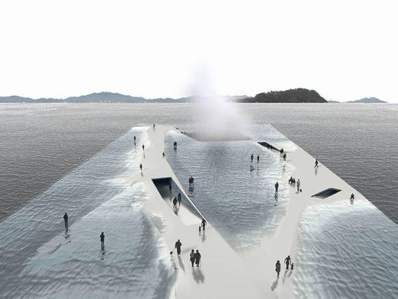 Arquitectos españoles diseñan pabellon sumerge emerge mar