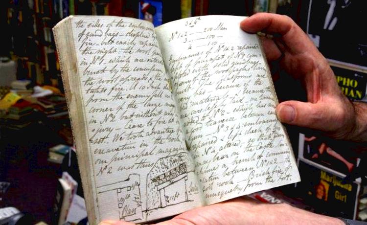 Encuentran libreria viejo diario soldado guerras napoleonicas