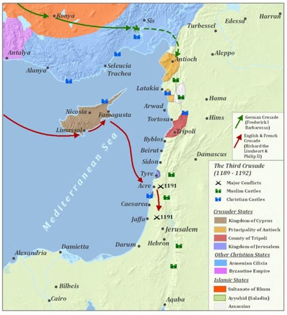 Mapa de la Tercera Cruzada