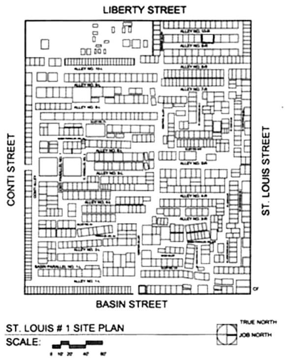Plano del Cementerio Nº 1 de St. Louis