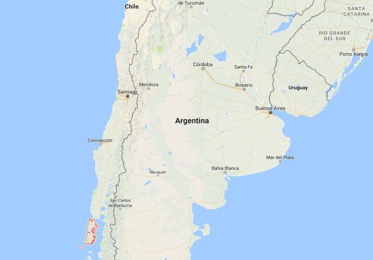 El archipiélago de Chiloé, en rojo, parte inferior izquierda de la imagen. Mapa: Google Maps