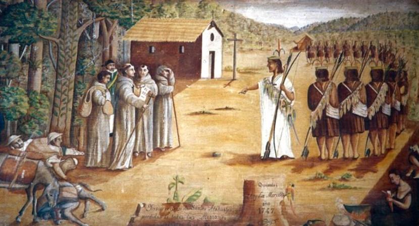 Pintura decimonónica de Juan Santos enfrentándose a los franciscanos/Imagen: Gabriel Sala en el Convento de Santa Rosa de Ocopa