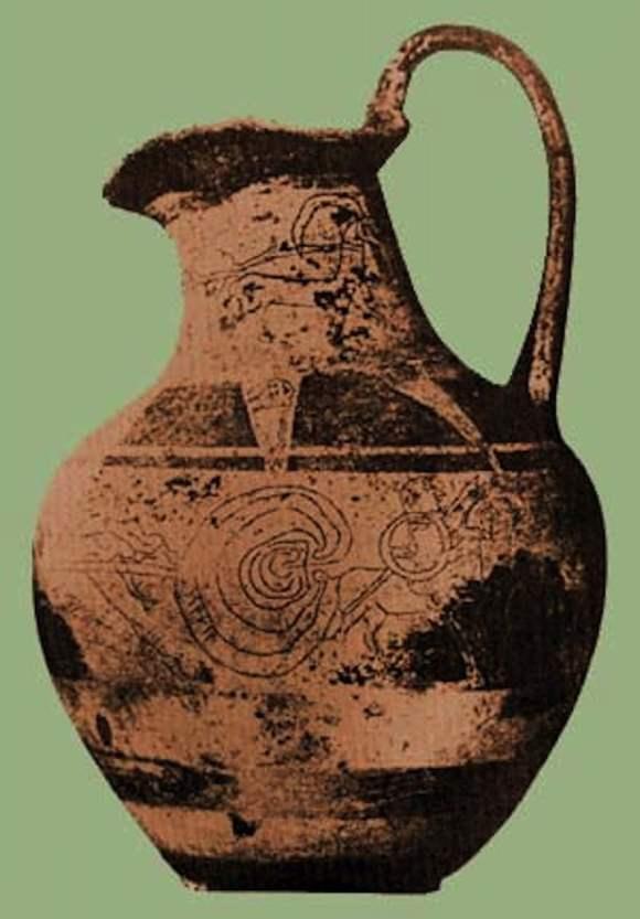 Vaso etrusco con el laberinto y la palabra Trivia / foto Dominio Público
