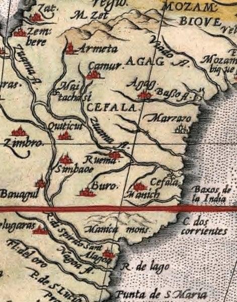 Gran Zimbabue en el mapa de Ortelius de 1570 (como Simbaoe) / foto Ulamm en Wikimedia Commons