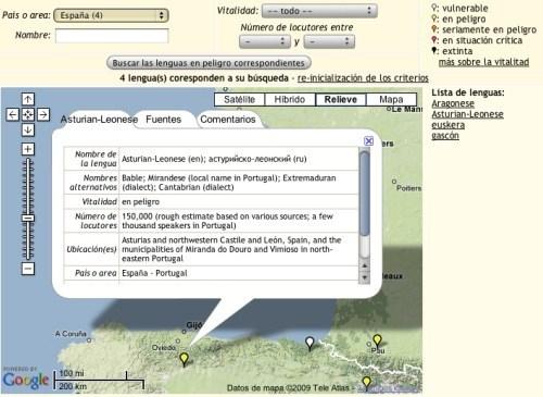 Atlas interactivo de idiomas en peligro de extinción