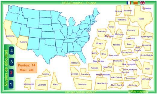 Mapa-puzzle de los Estados Unidos