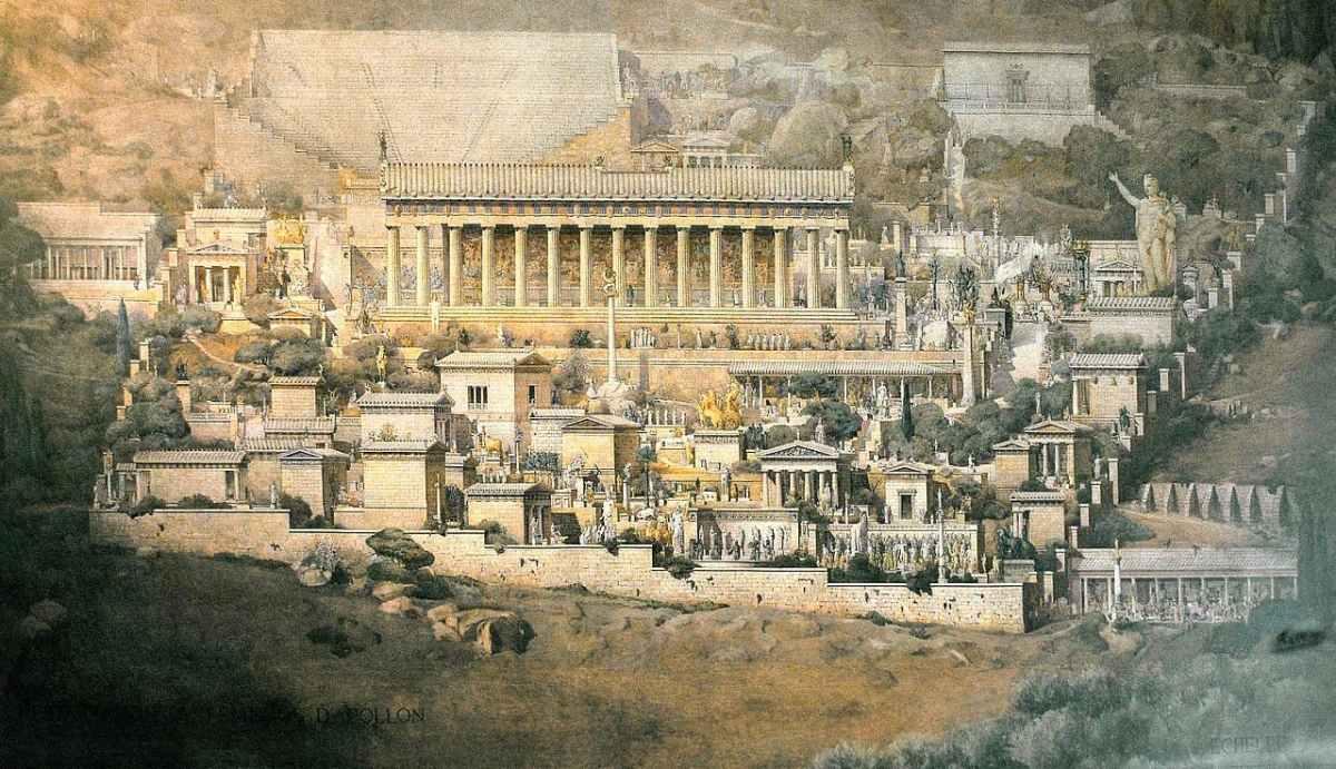 Reconstrucción del santuario de Apolo en Delfos