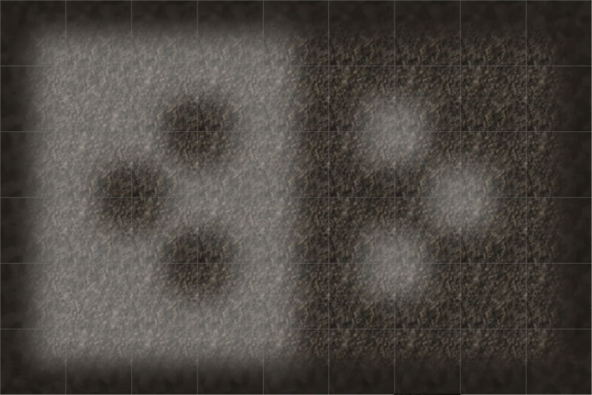 First 48 tiles in the dirt/cave tileset covering all transitions of light dirt, dark dirt, and walls.