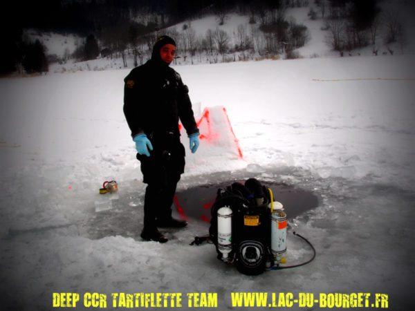 Plongee sous glace lac de la thuile deep ccr tartiflette team