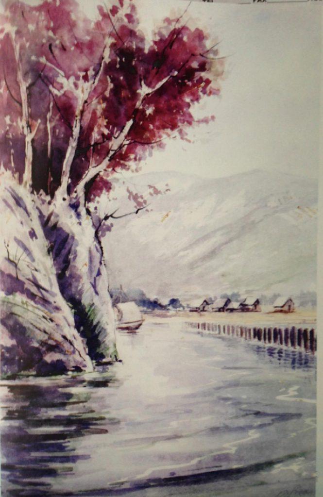 Aquarelle Roland Girardet port gallo romain chatillon Chindrieux lac du bourget