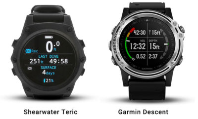 meilleurs ordinateurs de plongée Shearwater Teric & Garmin Descent