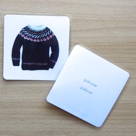 cartes de langage bilingue vêtements