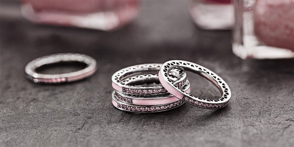 Radiant Hearts of PANDORA Pink Rings