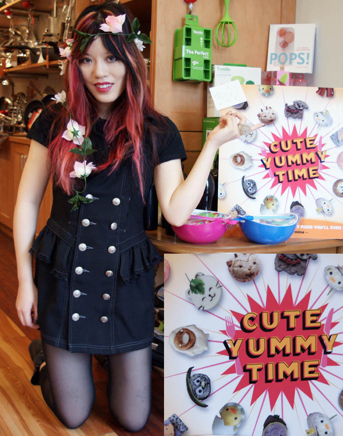 Japanese bento decoration book, CUTE YUMMY TIME WASHINGTON DC BOOK SIGNING & FREE GEORGETOWN CUPCAKES. ALGONQUINS JAPAN MILITARY DRESS, KID'S RECIPES COOKBOOK, charaben, best kid's cooking, fun quirky j-pop culture books, scene queen style and pink hair.