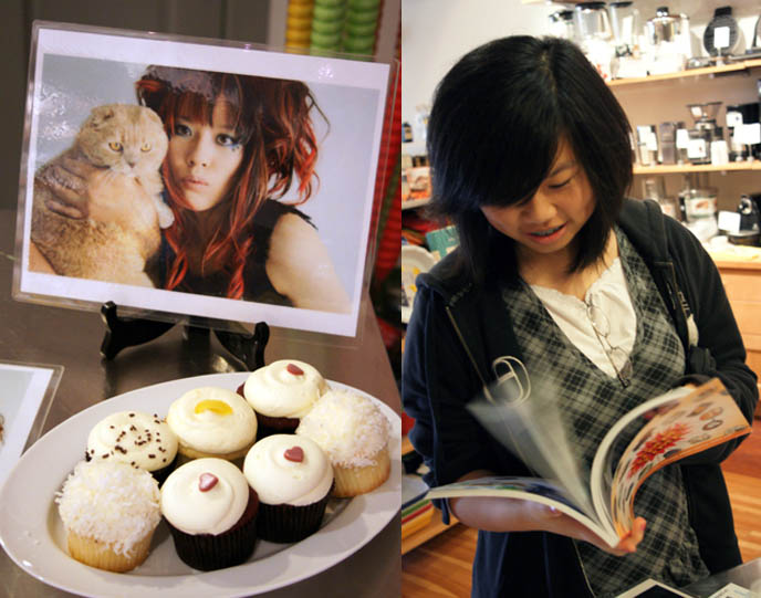 Girl flipping through pages of book, Japanese bento decoration book, CUTE YUMMY TIME WASHINGTON DC BOOK SIGNING & FREE GEORGETOWN CUPCAKES. ALGONQUINS JAPAN MILITARY DRESS, KID'S RECIPES COOKBOOK, charaben, best kid's cooking, fun quirky j-pop culture books, scene queen style and pink hair.