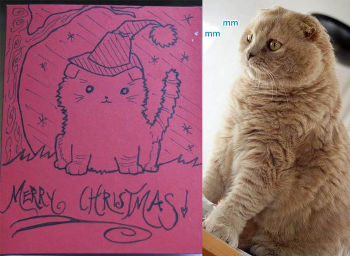 KAWAII HANDMADE CHRISTMAS CARDS SCOTTISH FOLD KITTEN