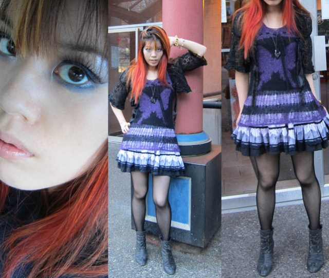 Eyeshadow Tutorial Purple Smoky Eyes Japanese Cute Goth Girls Outfit Post Red Orange
