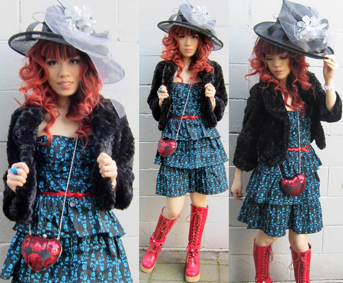 BRITISH ROYAL WEDDING HAT: FASCINATORS, BIG BRIM VICTORIAN HATS. SKULL DRESS, HEART PURSE, RED BOOTS. princess hats, rococo, william and kate wedding hats, big brimmed floppy hats, sequined gothic purse, heart shaped bag, iron fist clothing 2011, skull print fabric, red curly hair, smoky eyeshadow, how to do smokey eyes, pin up curls, alternative emo hairstyles