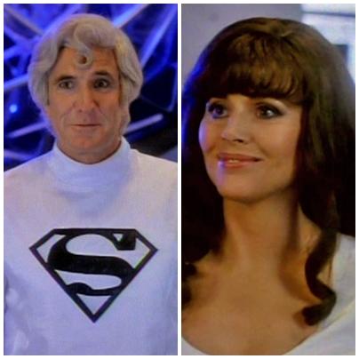"George Lazenby y Britt Ekland en la serie ""Superboy"" (1988)"