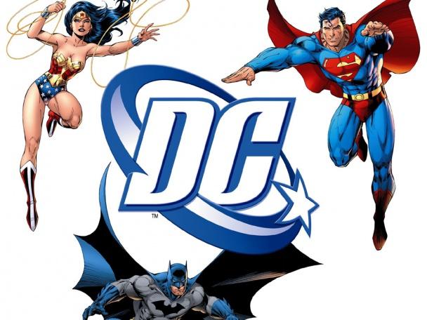 Algunos de los héroes más famosos de DC Comics: (de izquierda a derecha) Wonder Woman, Batman y Superman