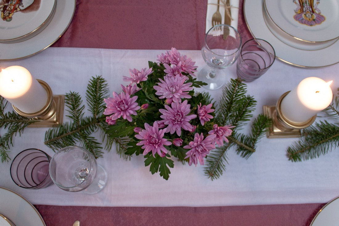 My birthday Table setting with soft touches of color in the middle of winter 01