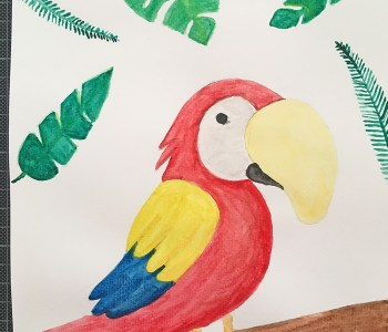 Illustration and watercolor Scarlet macaw guacamayo 03