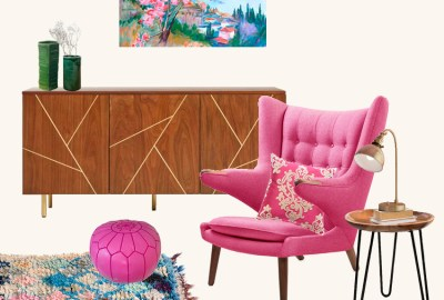 Inspiration room Fuchsia as a dominant color in this eclectic room