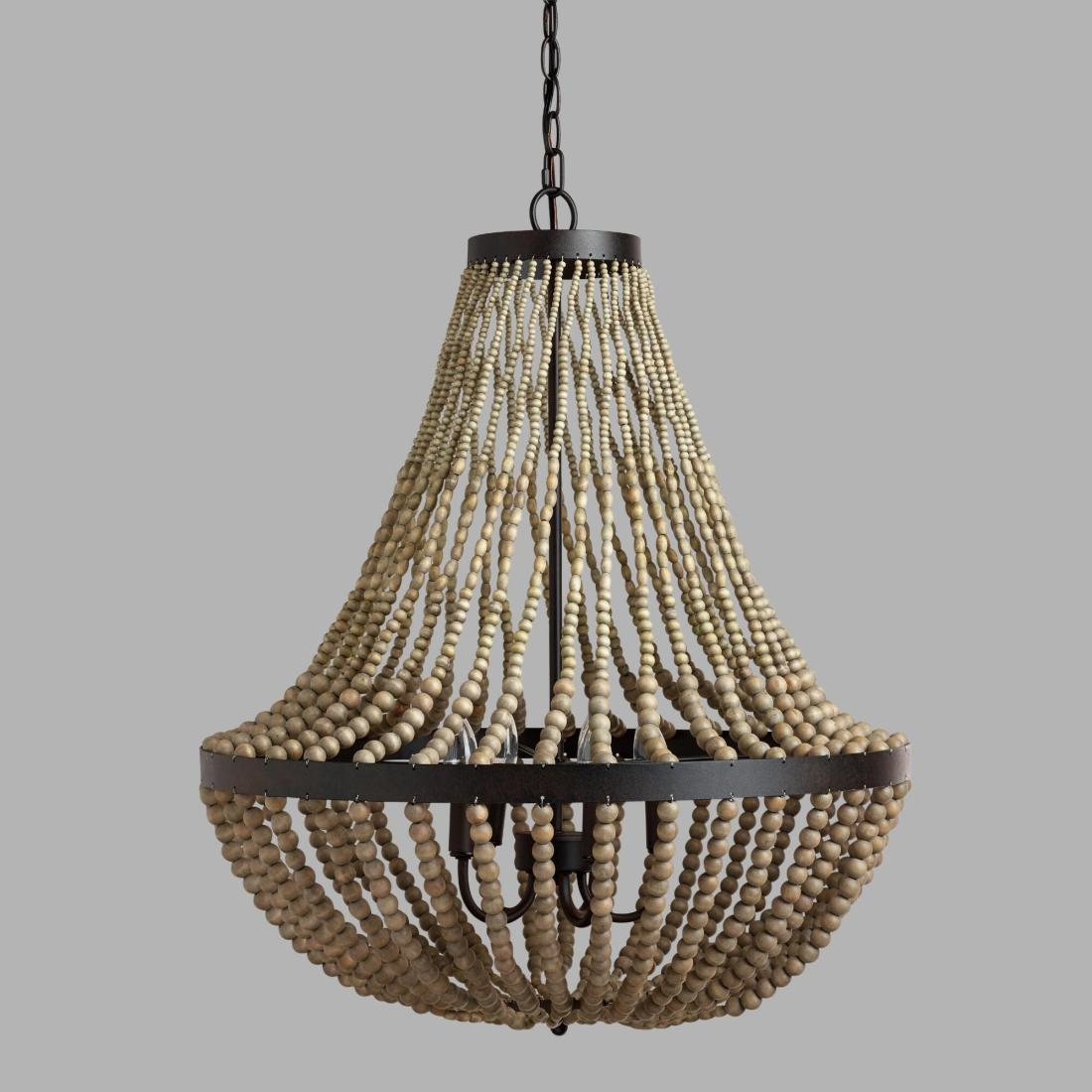 Wooden beads chandeliers and ceiling lamps 03